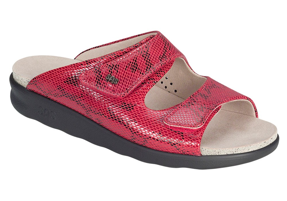 cozy womens red snake sandal