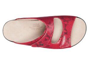 cozy womens red snake sandal