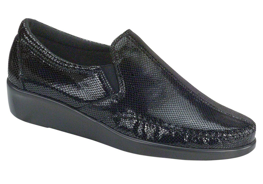 dream black snake slip on sas shoes