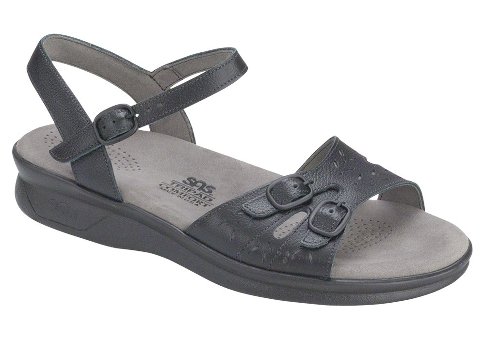 duo womenes black leather sandal sas shoes