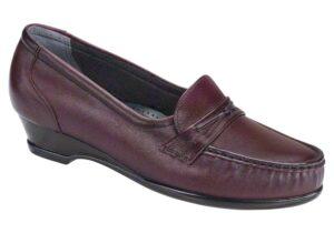 easier antique wine slip on leather sas shoes