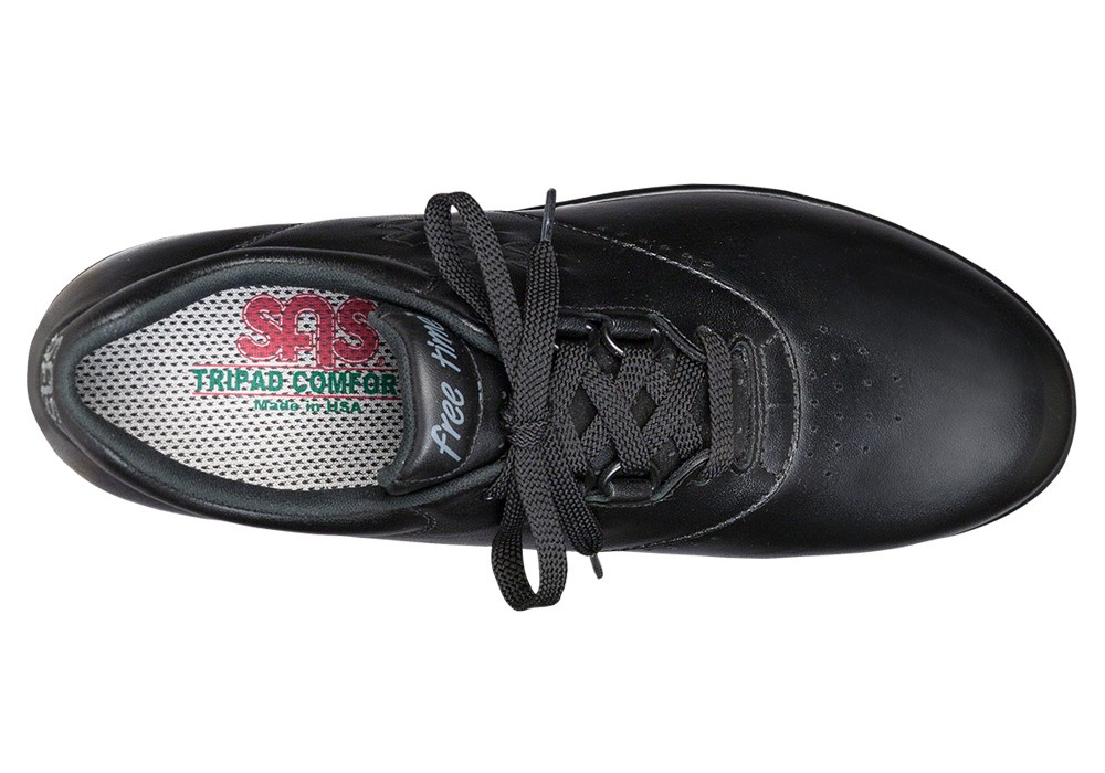 free time black leather active tennis sas shoes