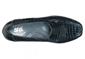 joy black croc slip on sas shoes