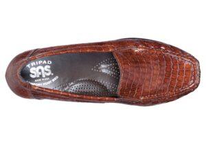 joy cognac croc slip on sas shoes