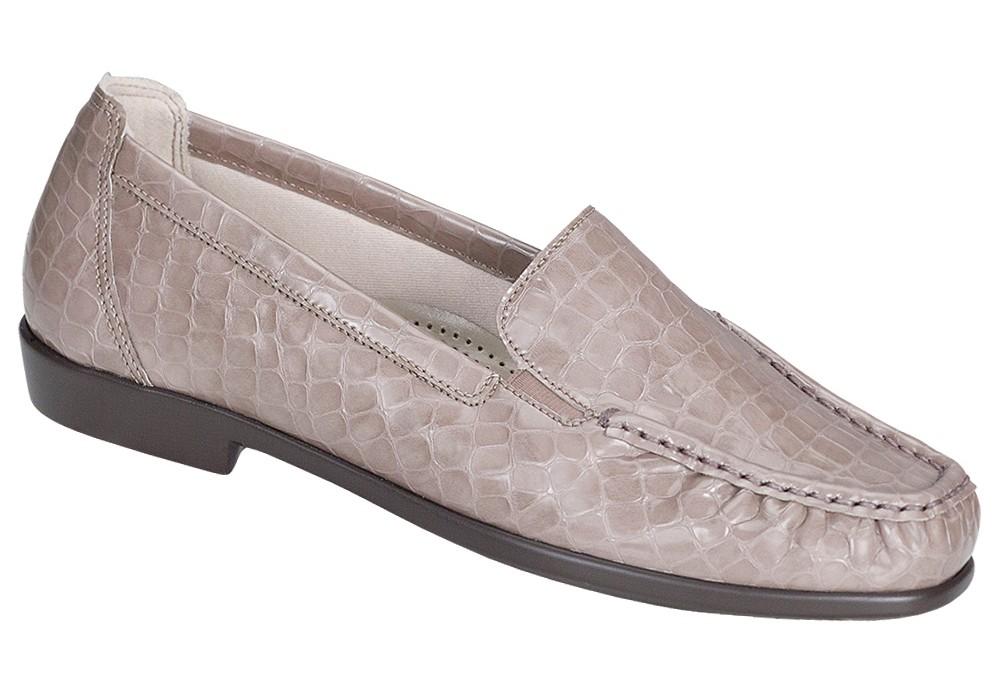 joy taupe croc slip on sas shoes