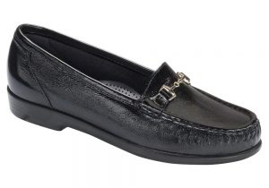 metro womens black patent leather dress slip on sas shoes