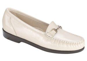 metro womens smooth bone patent leather dress slip on sas shoes