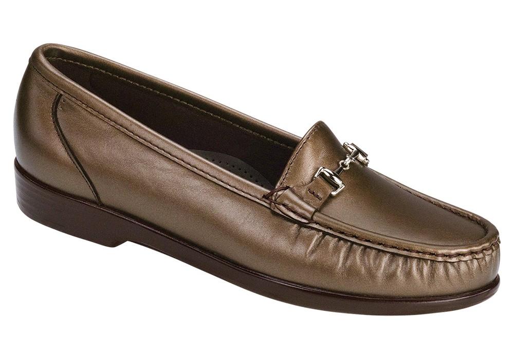 metro womens smooth bronze dress slip on sas shoes