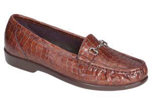 metro womens congac croc dress slip on sas shoes