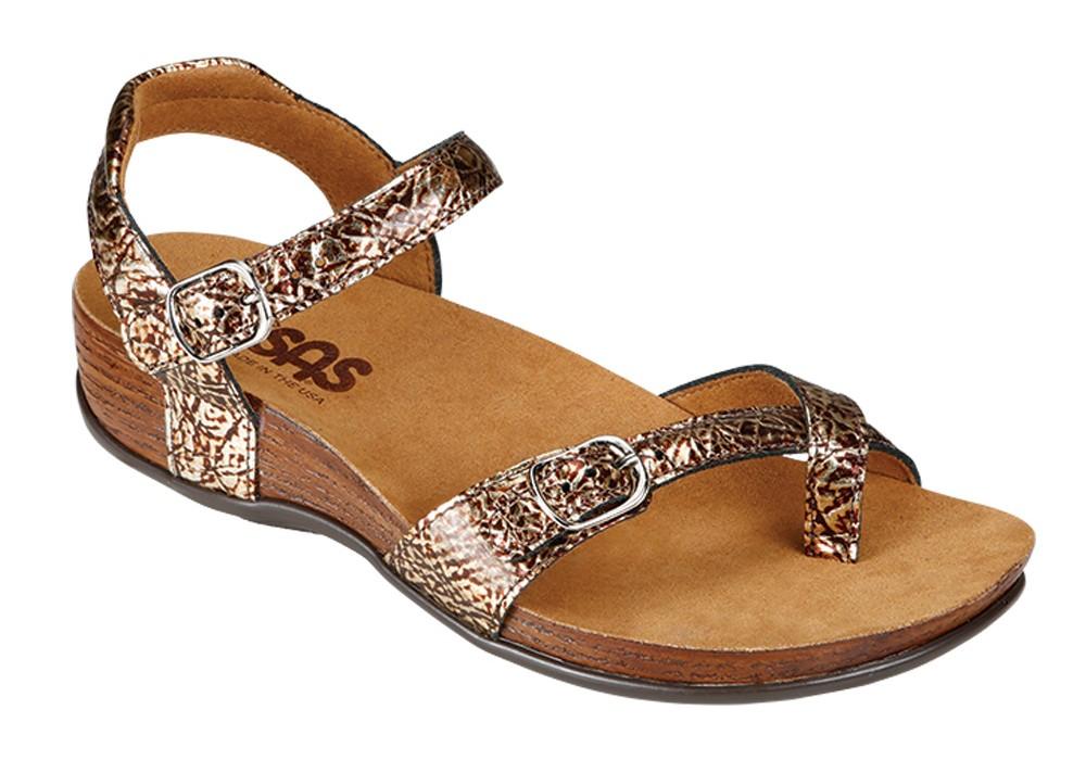 pampa womens fantasia foil leather sandal sas shoes