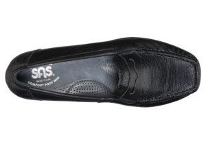 penny j black leather slip on dress sas shoes