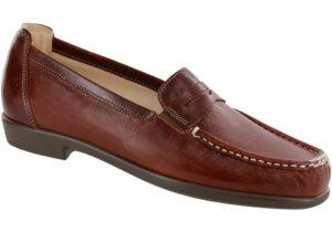 penny j walnut leather slip on dress sas shoes