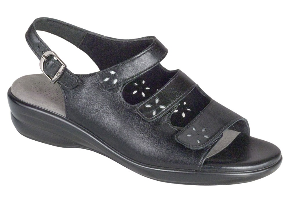 quatro womens black leather sandal sas shoes