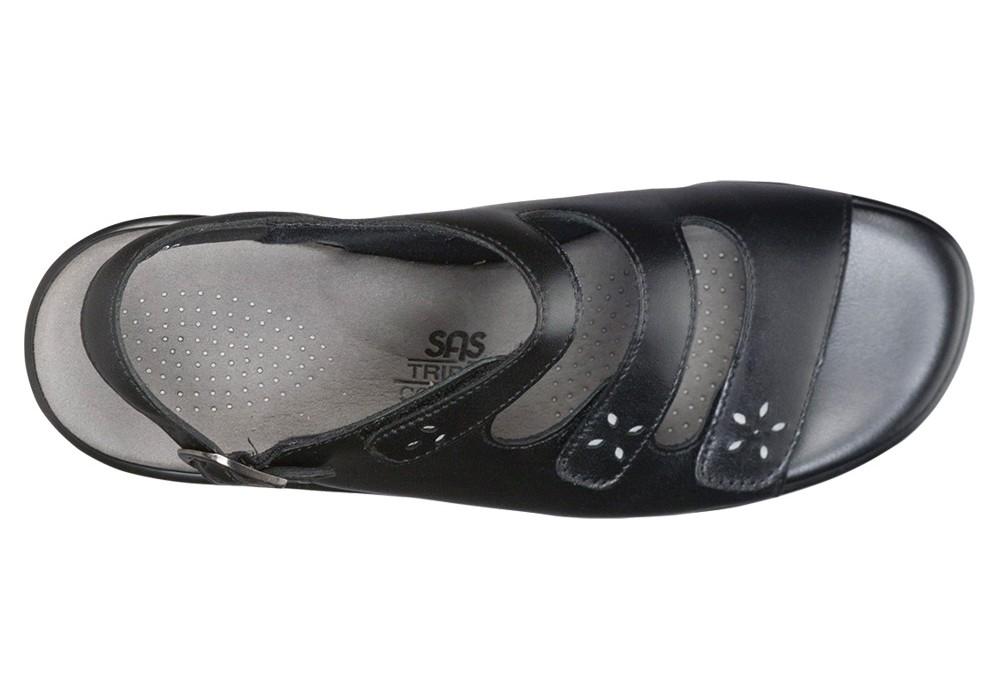 quatro womens black leather sandal sas shoes