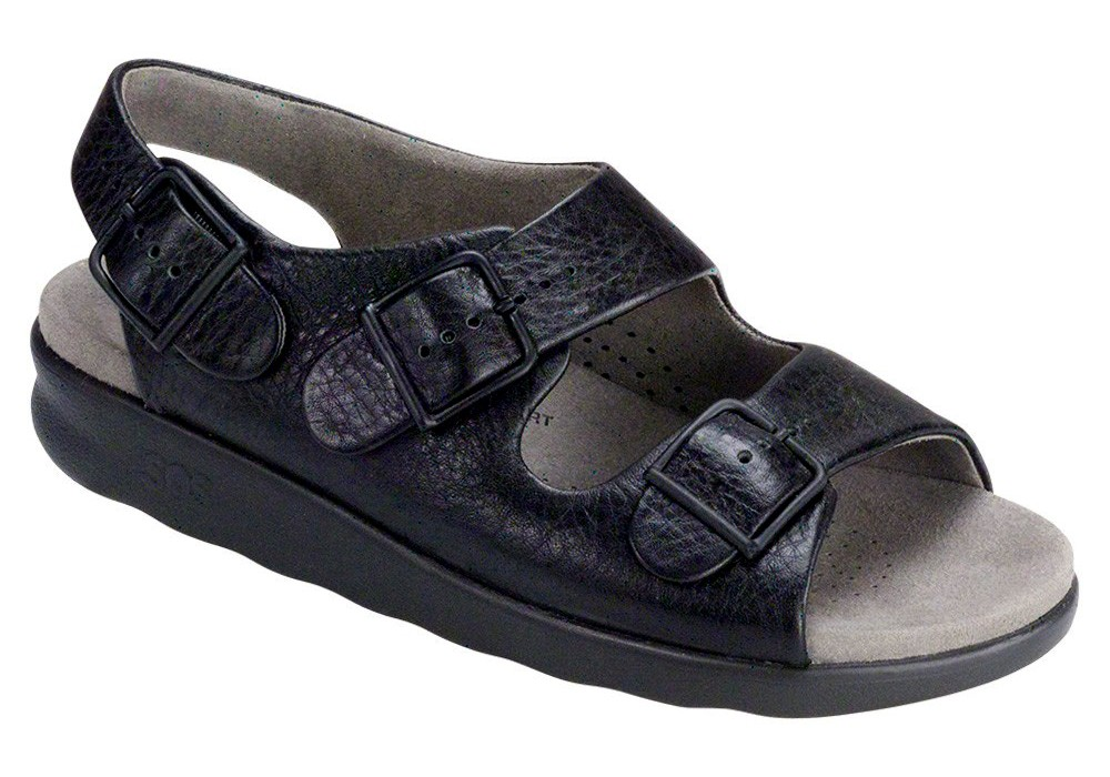 relaxed womens black leather sandal sas shoes