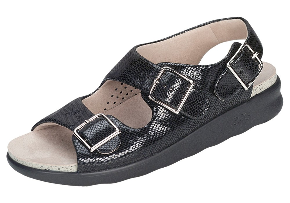 relaxed womens black snake leather sandal sas shoes