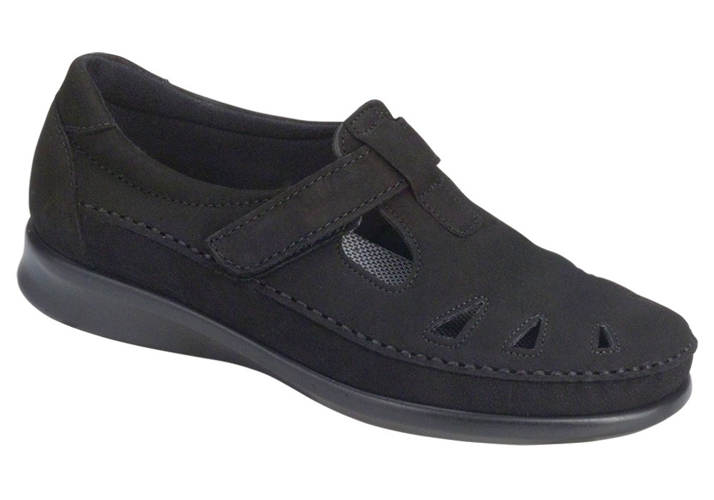 roamer charcoal leather slip on sas shoes