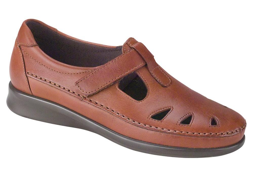 roamer chestnut leather slip on sas shoes