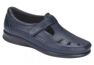 roamer navy leather slip on sas shoes