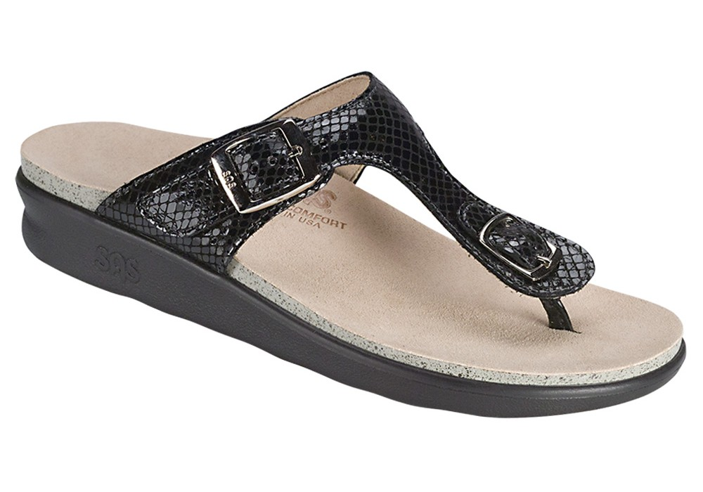 sanibel womens black snake leather sandal sas shoes