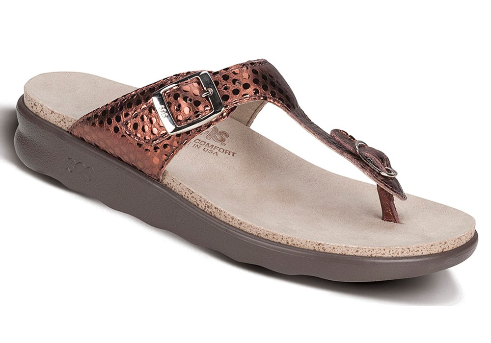 0e0a1f751efb7f sanibel womens bronze foil leather sandal sas shoes