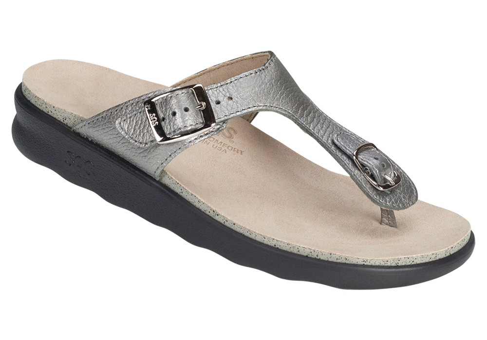 bb25f6560bd1 sanibel womens pewter leather sandal sas shoes