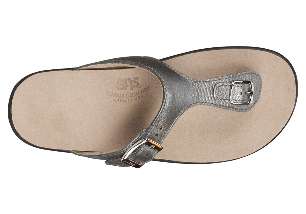 1c9bf5a3a88 sanibel womens pewter leather sandal sas shoes