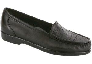 savvy black leather slip on dress sas shoes