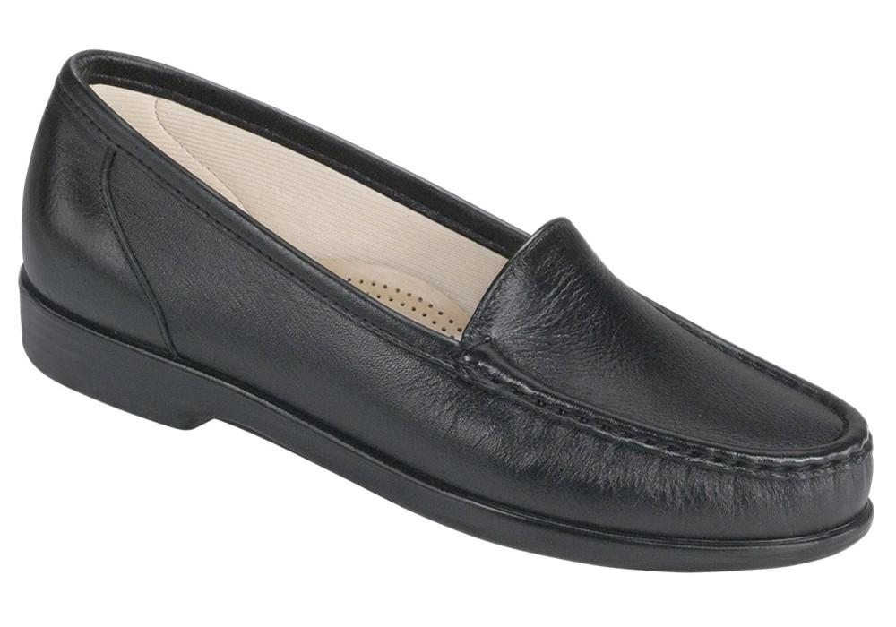 simplify black leather slip on sas shoes