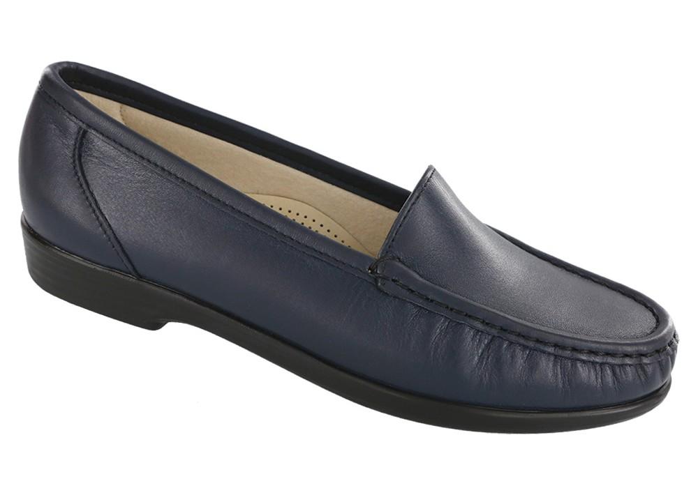 simplify navy leather slip on sas shoes