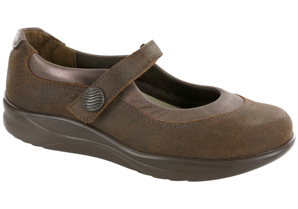 step out brown slip on mary jane sas shoes