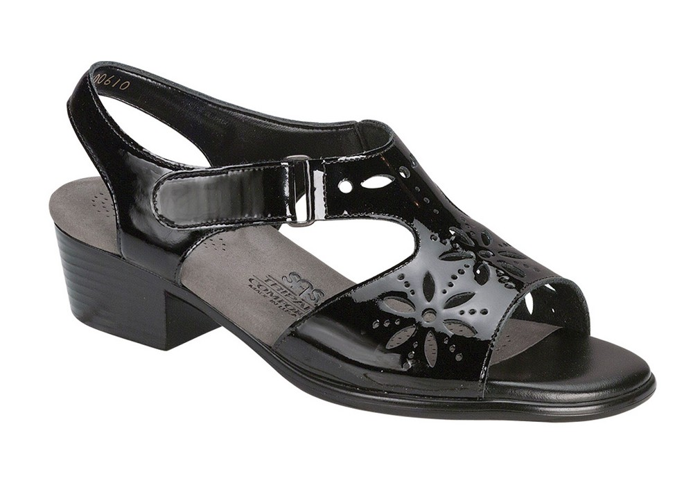 sunburst womens black patent leather sandal sas shoes
