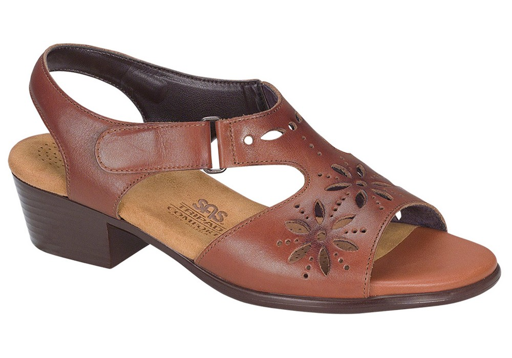 sunburst womens chestnut leather sandal sas shoes