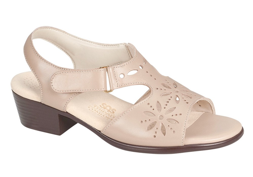 sunburst womens cream leather sandal sas shoes