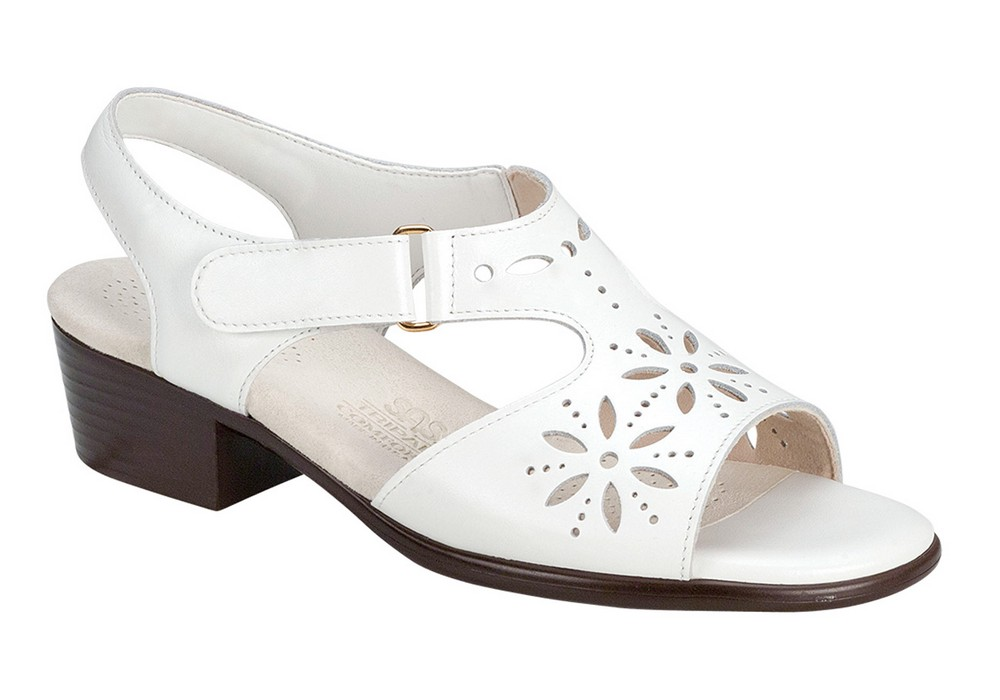 sunburst womens white leather sandal sas shoes