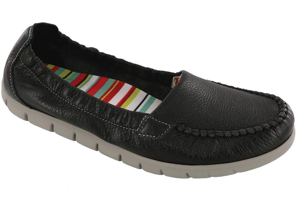 sunny black leather slip on sas shoes
