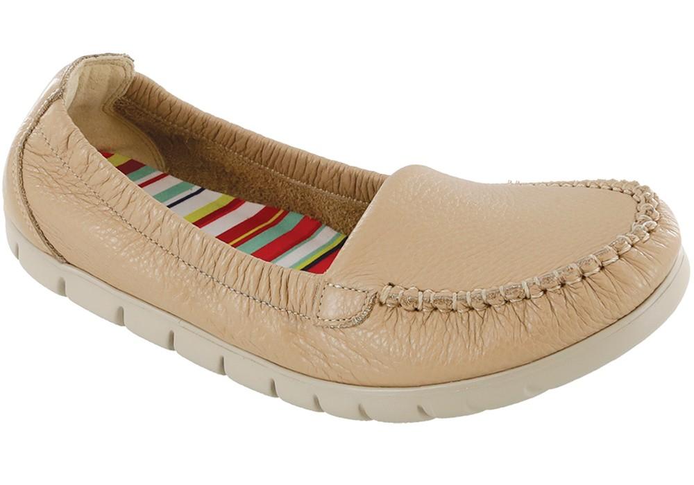 sunny latte leather slip on sas shoes