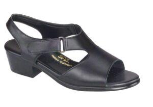 suntimer black leather sandal sas shoes