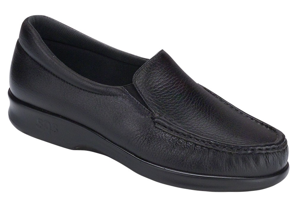 twin black leather slip on sas shoes