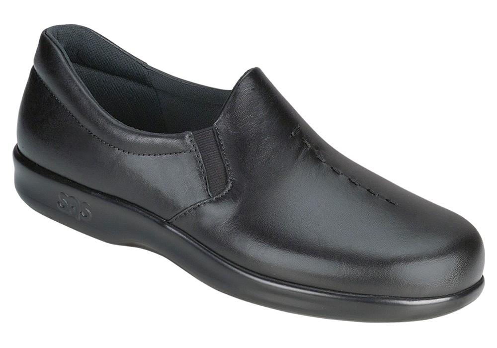 viva black leather slip on sas shoes