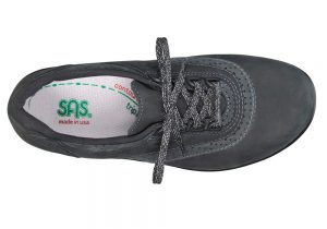 walk easy nero charcoal nubuck leather fitness active sas shoes