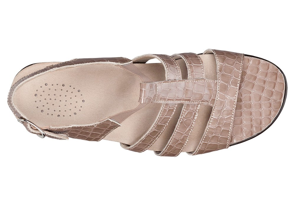 allegro taupe croc leather sandal womens sas shoes